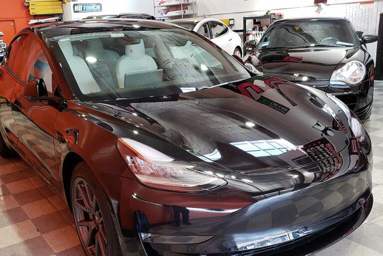 black tesla car detailing