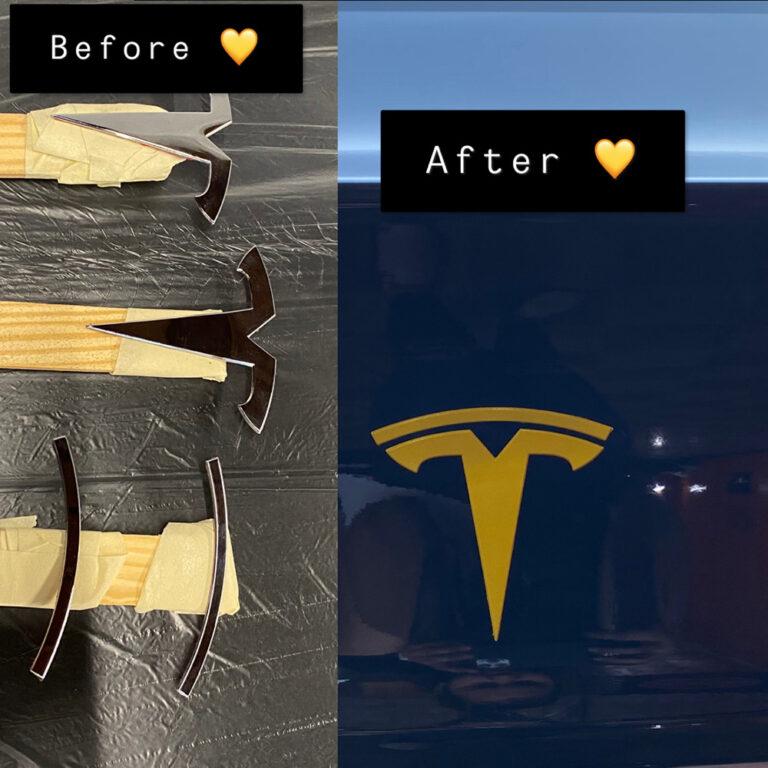 Tesla Emblem Painting by Auto Pro Detailing