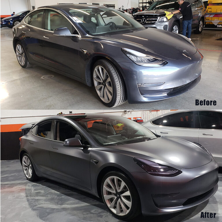 Tesla Vinyl Wrap Before & After sq2