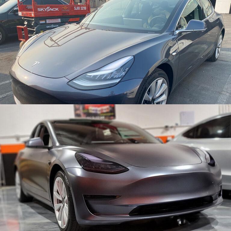Tesla Vinyl Wrap Before & After - Palo Alto