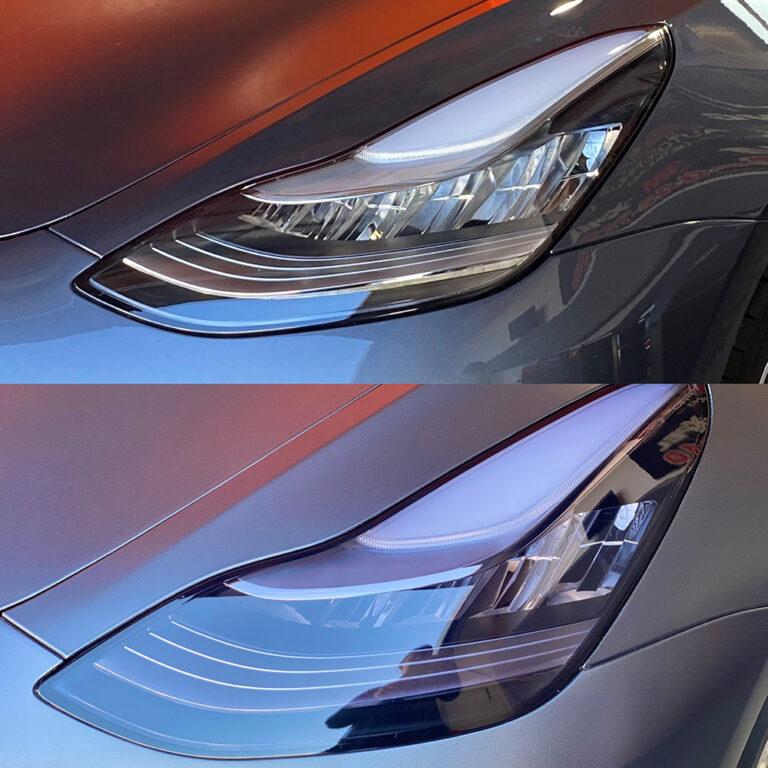 Tesla Vinyl Wrap Headlight Before & After - Oakland