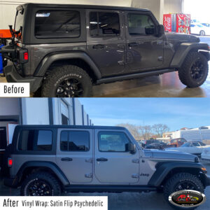 Jeep Vinyl Wrap - Satin Flip Psychedelic before & after