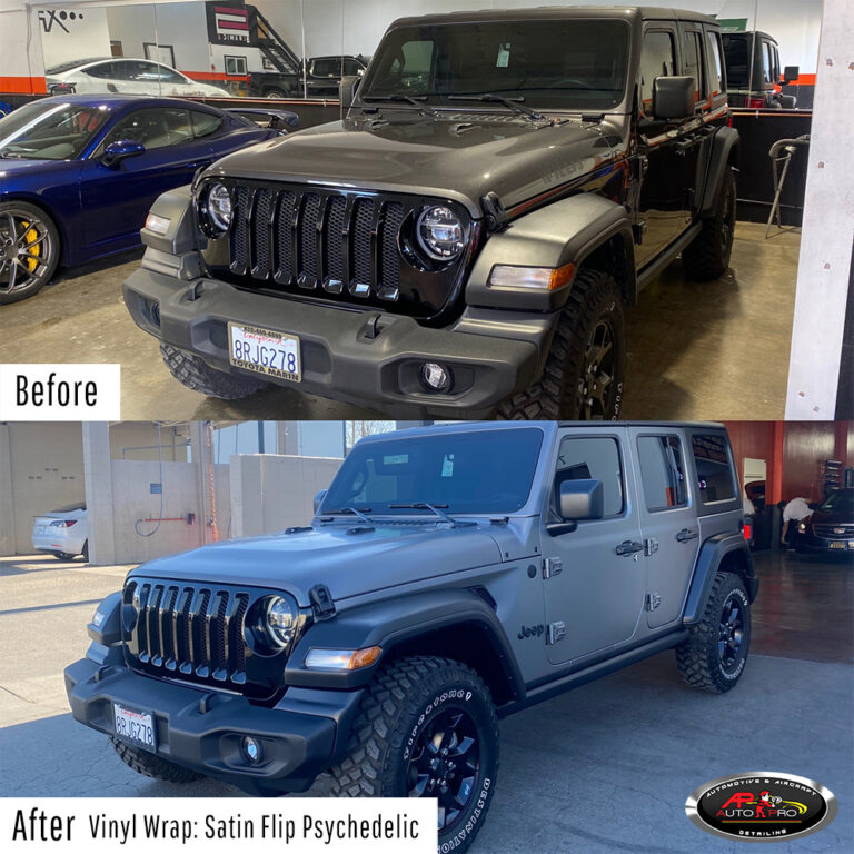 Jeep Vinyl Wrap Wrap - Satin Flip Psychedelic before & after