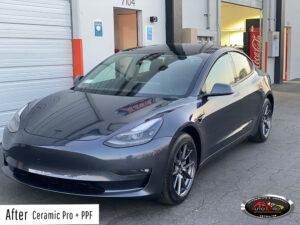 Tesla Ceramic Coating + PPF + Chrome Delete