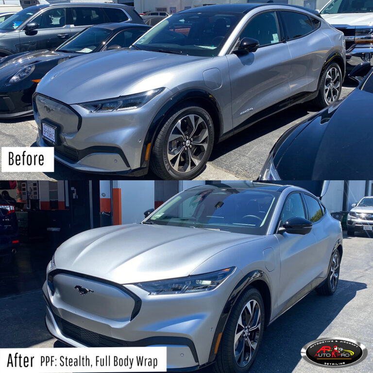 Mach-E - PPF Stealth Wrap Before & After